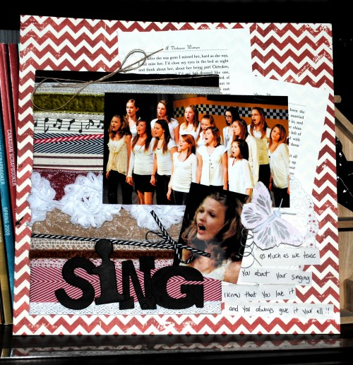 Creative Scrapbooker Magazine, csmscrapbooker, sing, Christy Riopel, May Arts Ribbon, scrapbooking, 12X12 layouts, ribbon mat, diy ribbon mat, layouts about singing, choir, chevron patterned paper, lots of ribbon, using up your ribbon scraps, Christy Riopel, remembering christy