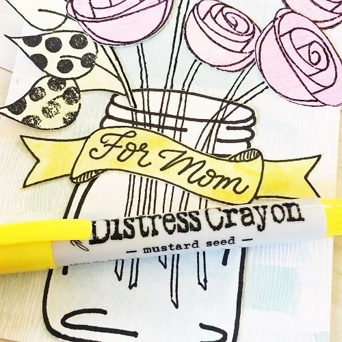@csmscrapbooker @kellycreates #timholtz #ranger #dyanreaveley #stamping #distresscrayons #watercolour #card #mothersday