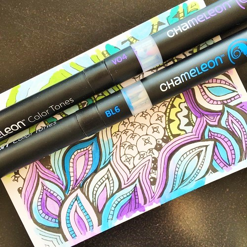 Creating and Coloring with Chameleon Pens: @csmscrapbooker @kellycreates @chameleonpens #chameleonpens #coloring #adultcoloring #zentangle #scrapbooking #card #coredinations