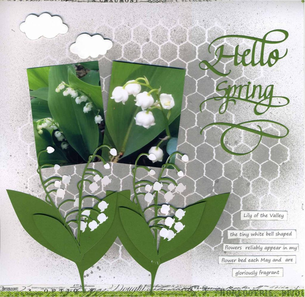 connienichol, elizabeth craft designs, quietfire designs, scrapbook layout, eclips2, lily of the valley