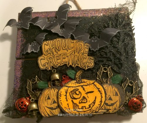Katelyn Grosart, Creative Scrapbooker Magazine, csmscrapbooker, halloween, Ranger, Dylusions, distress ink, Tim Holtz, halloween, halloween decor, halloween decorations, diy halloween, emerald creek crafts, southern ridge trading co., pumpkins, bats, cheese cloth, mixed media, wall hanging