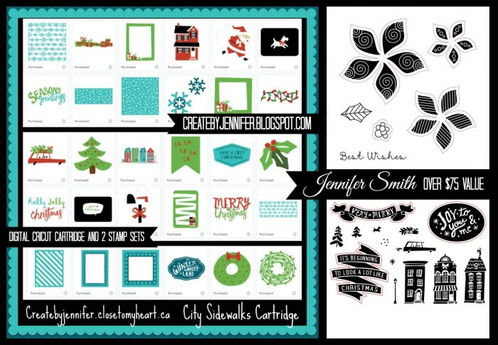 @jennifersmith @ctmh @csmscrapbooker Giveaway, Why Not Win Wednesday, Close To My Heart, Creative Scrapbooker Magazine #csmscrapbooker, City Sidewalks Digital collection, joy to you & Me stamp set, Pretty Poinsettia stamp set, acrylix, acrylic stamps, close to my heart stamps, cricut, cricut compatible, giveaways, scrapbooking, free stuff