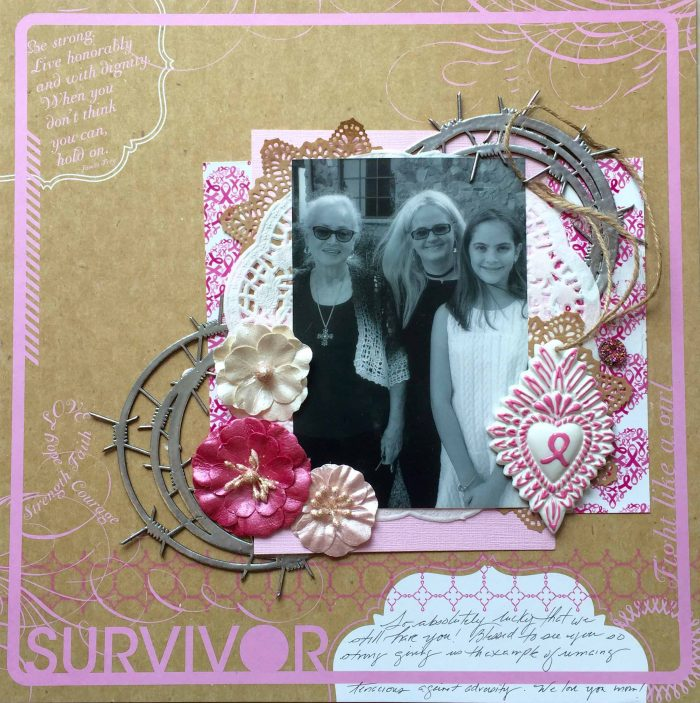 Milagros C Rivera, scrapbooking, breast cancer, scrapbooking breast cancer, breast cancer survivor, creative scrapbooker magazine, csmscrapbooker, kraft coloured layouts, scrapbooking black and white photos, 12X12 layouts, layouts with one photo, embossing, Southern Ridge Trading Co.,