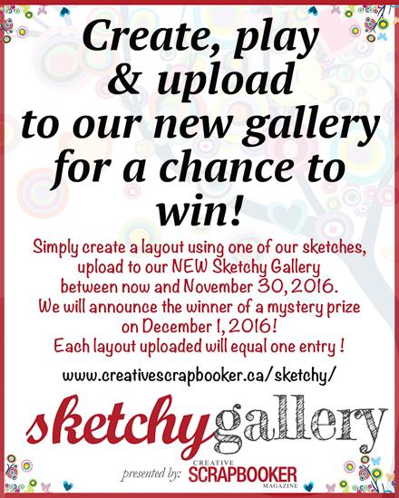 @csmscrapbooker #creativescrapbookermagazine #contest #sketchygallery #prize Creative Scrapbooker Magazine #sketches sketches