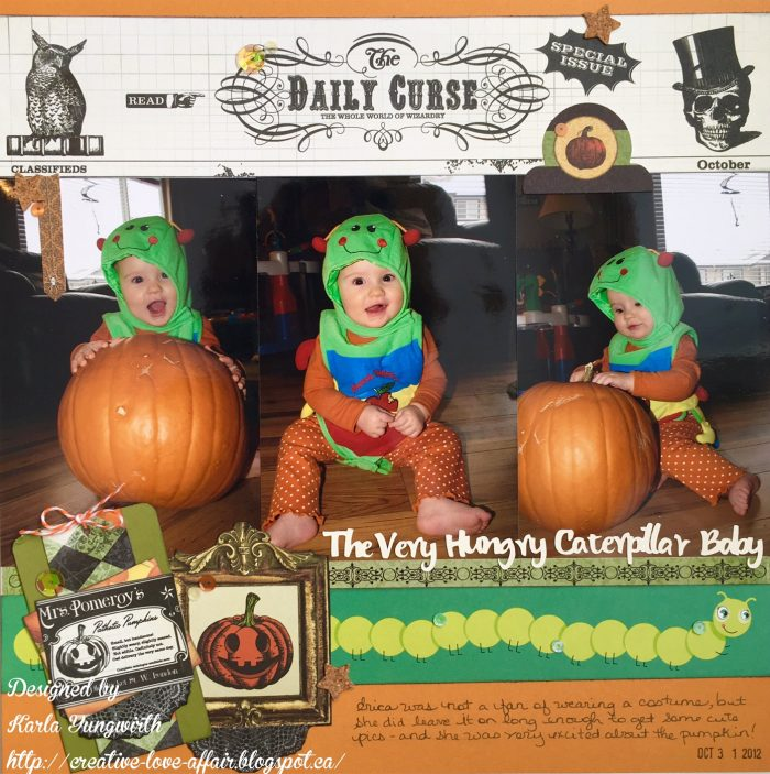 Karla Yungwirth, scrapbooking, halloween layouts, 12X12 layout, spiegelmom scraps, ranger, ranger distress ink, creative scrapbooker magazine, csmscrapbooker, stickers, halloween themed layouts, Bo Bunny, BoBunny, Wonderfully wicked collection,