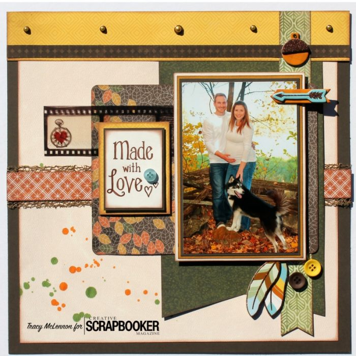 Tracy McLennon, Creative Scrapbooker Magazine, csmscrapbooker, layouts, fall layouts, buttons, Bo Bunny, Take a Hike, Clearsnap ColorBox Spritzers, pet layouts, 12X12 layouts, scrapbooking, brads, filmstrip, chipboard, Spritzers, Clearsnap, ColorBox, fall themed layouts, pregnancy layouts, scrapbooking pets, scrapbooking pregnancy