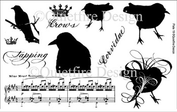 Quietfire Design, crows, musical notes, musical stamps, crows, crow stamps, crowns, crown stamps, stamping, scrapbooking, Creative Scrapbooker Magazine, csmscrapbooker