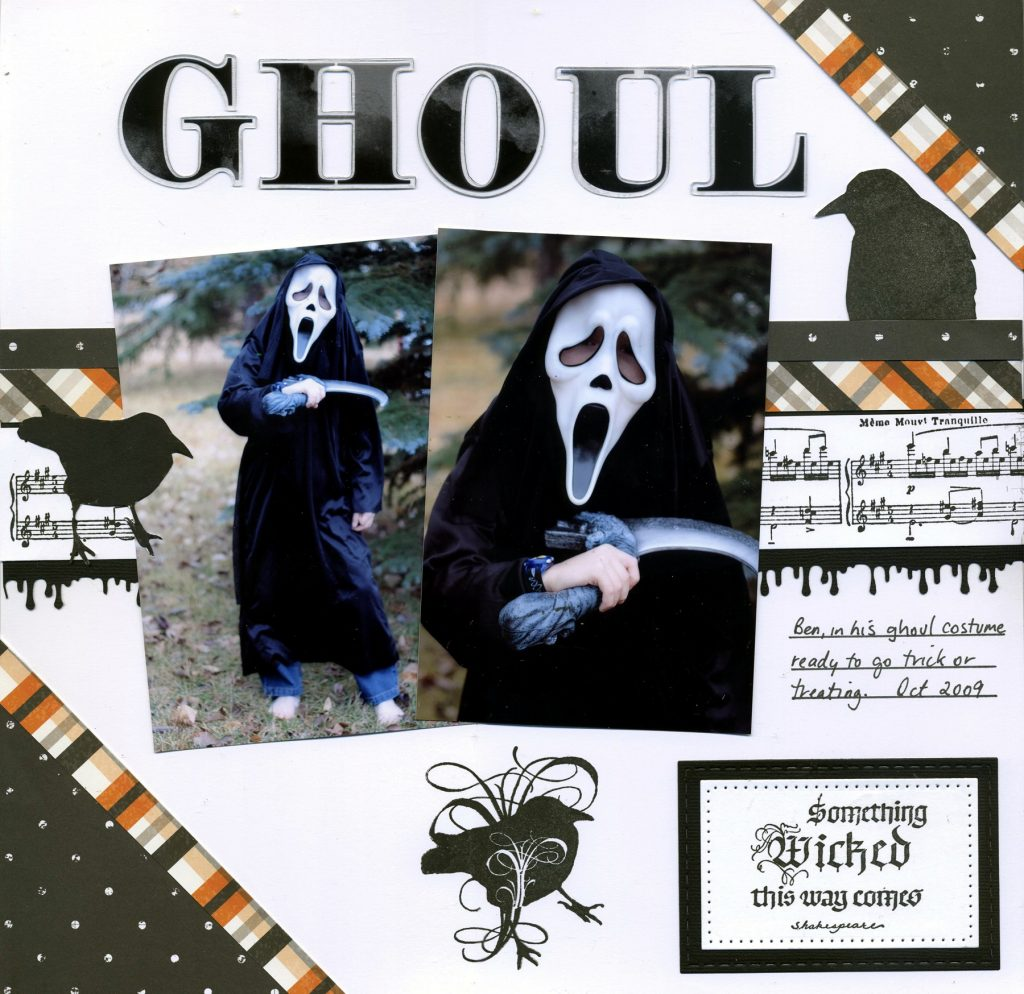 @simplestories @quietfiredesign @elizabethcraftdesigns connie nichol, simple stories, happy haunting, Halloween layouts, 12X12 layout, halloween theme, stamping, halloween patterned paper, crows, dressing up for halloween, halloween costume, scrapbook adhesives by 3l, Elizabeth Craft Designs, Creative Scrapbooker Magaizne, Scrapbooking and Cards, csmscrapbooker, wicked