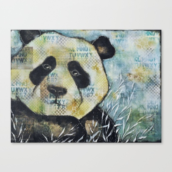 Christy Riopel, canvas, mixed media, panda, panda canvas, home decor, stencils,