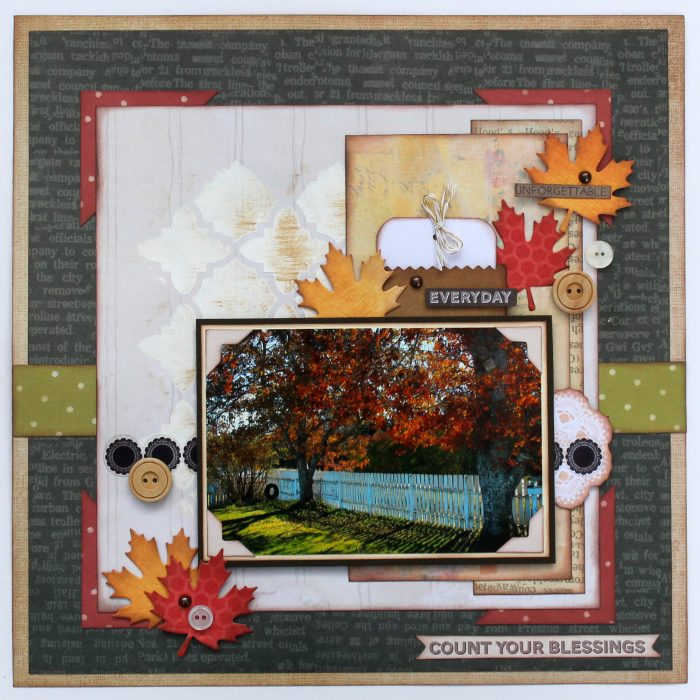 Tracy McLennon, Bo Bunny , Take a Hike Collection, Clearsnap, Clearsnap Spritzers, ColorBox, Tombow, Tombow Xtreme Adhesives, May Arts Ribbon, Creative Scrapbooker Magazine, csmscrapbooker, Fall themed layouts, 12X12 layouts, Maple leaf die cuts, button embellishments, brad embellishments, inking paper, everyday. scrapbooking ideas,