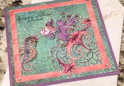 @kdgowdy@csmscrapbooker #csmblog #creativescrapbookermagazine #cards #heartfeltcreations #clearsnap #ranger #adhesivesby3L #picoembellishers #underthesea #fish #seahourse #colourlove #diy #purple #salmon #happy @coredinations