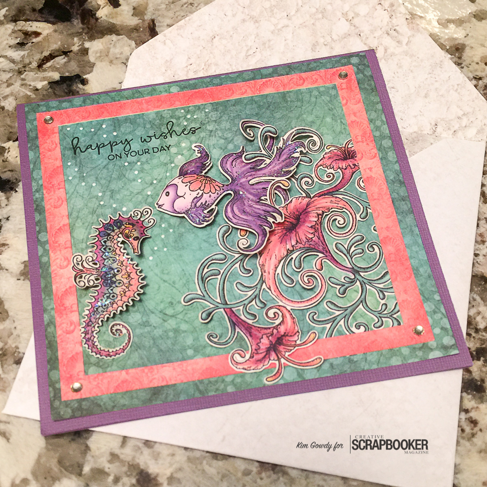 @kdgowdy@csmscrapbooker #csmblog #creativescrapbookermagazine #cards #heartfeltcreations #clearsnap #ranger #adhesivesby3L #picoembellishers #underthesea #fish #seahourse #colourlove #diy #purple #salmon #happy @coredinations