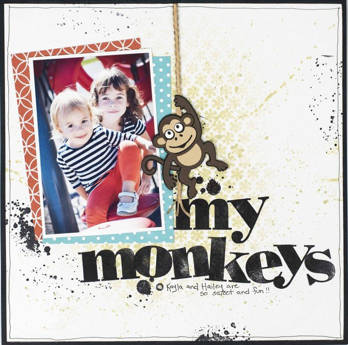 Christy Riopel, Creative Scrapbooker Magazine, csmscrapbooker, Elizabeth Craft Designs, Ranger, Scrapbook Adhesives by 3L, Stampin' Up!, Big Shot die cutting machine, stencils, templates, 12X12 layout, monkey die, rope die, alphabet stamps, distress spray, splatters perfect template techniques, perfect stencil techniques
