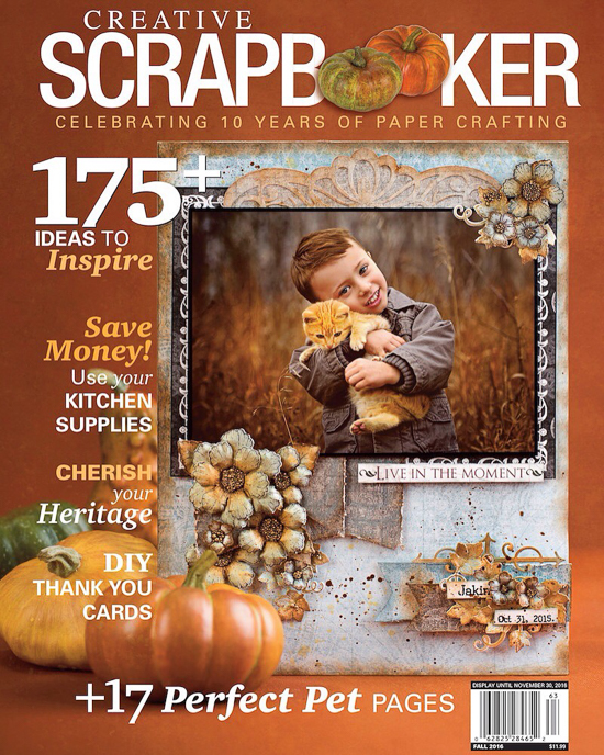 @csmscrapbooker #csmspotlight #creativescrapbooker #creativescrapbookermagzine #fallissue #publication #subscribe #pumpkins #thankful #autumn #pets #kids #diycards #kitchensupplies #inspire #tenyears #papercrafting