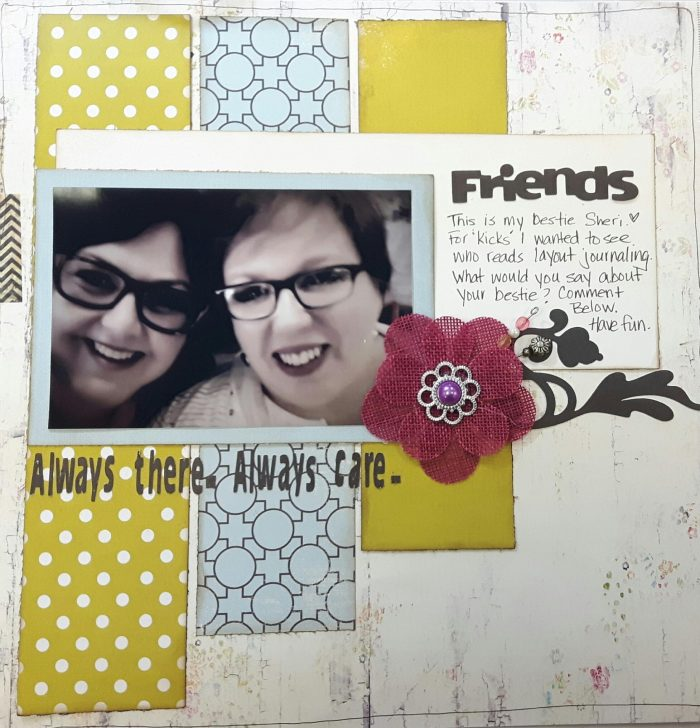 Karen Ellis, Creative Scrapbooker Magazine, csmscrapbooker, Fancy Pants Designs, based on a sketch, scrapbooking, 12X12 layout, #csmscrapbooker, friends layout, sketchy challenge, sketchy gallery,