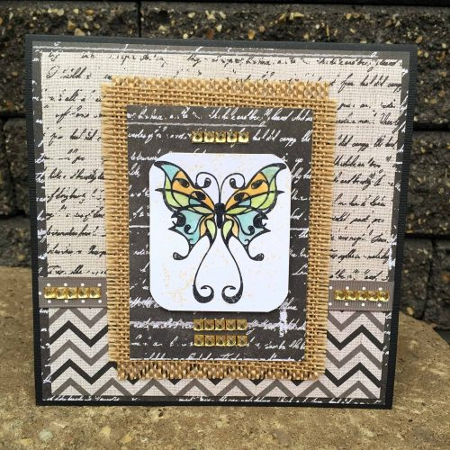 Kim Gowdy, Creative Scrapbooker Magazine, csmscrapbooker, stamping, card making, DCWV, burlap, bling sticker sheets, gold bling, Ranger distress markers, Ranger Glossy Accents, cards, diy cards, chalk patterned paper, stamping, butterfly stamps, creating with burlap