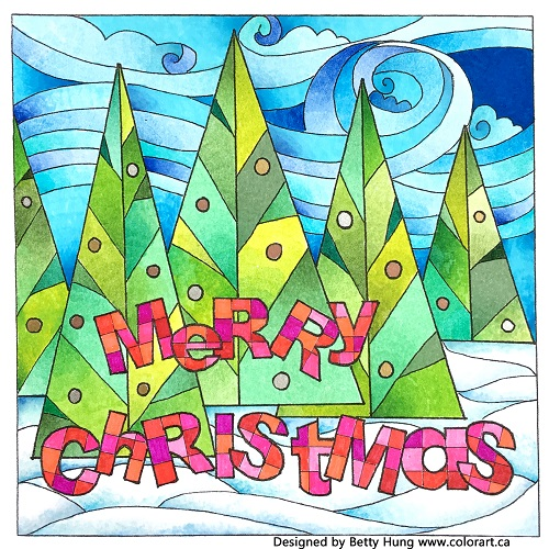 @csmscrapbooker @colorartbybettyhung #colouring #free #card #color #adult #Christmas #holiday #Tombow