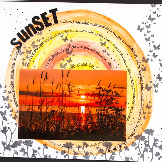 #csmscrapbooker #creativescrapbooker magazine @kdgowdy #kimgowdy #sunset #sketch #sketchychallenge #ranger #magenta