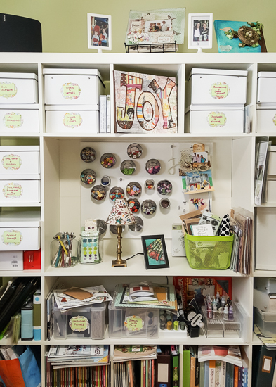 #JoanneMcClintock #csmscrapbooker #creativescrapbookermagazine #whereyoucreate #creativespace #organize #joy #boxes #magnets #storage #art