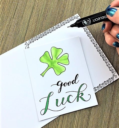 @csmscrapbooker @kellycreates Learn faux calligraphy on this cute good luck card using @chameleonpens #lettering #calligraphy