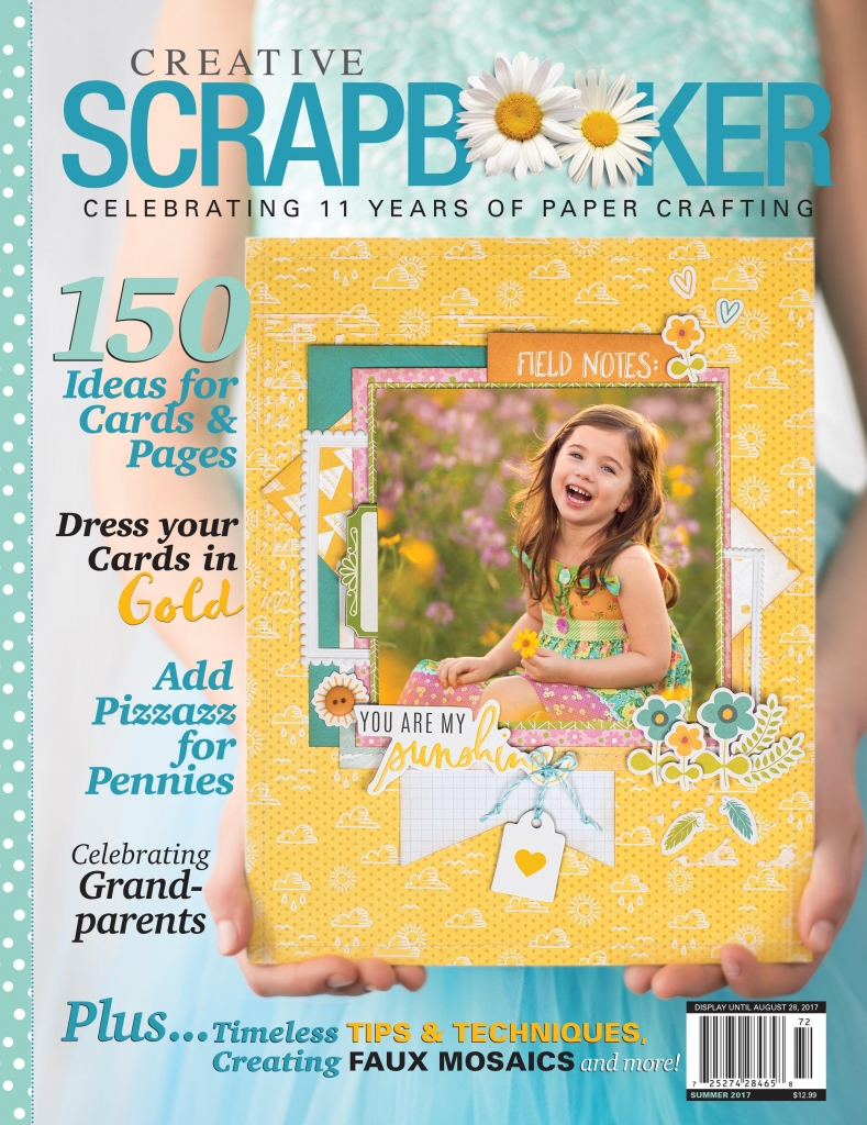 Creative Scrapbooker Magazine Summer 2017 front cover - a young girl in a blue dress holding a scrapbook layout.