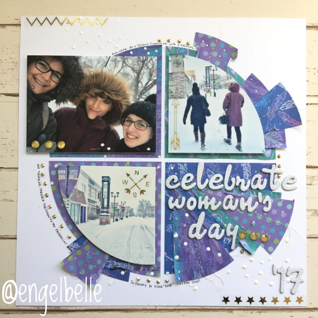 @multicraft_intl @csmscrapbooker #multicraft #foreverintime #creativescrapbookermagazine @engelbelle #kerryengel #layoutswithcircles #layoutswithslices #sewingonlayouts #winterthemedlayouts #circlejournaling