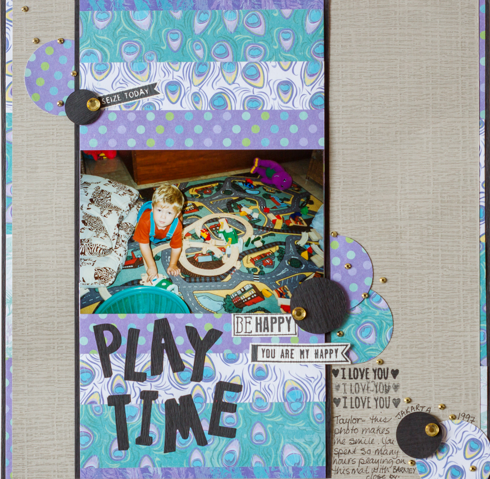 @multicraft_intl @csmscrapbooker #multicraft #foreverintime #creativescrapbookermagazine @kdgowdy #kimgowdy #playtime #stripesofpatternedpaper #trains #playtrains #seizetoday #designingwithstrips #peacockpatternedpaper