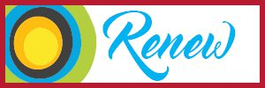"A clickable button with a stack of circles (green, blue, grey, orange, and yellow) and the word ""renew""."