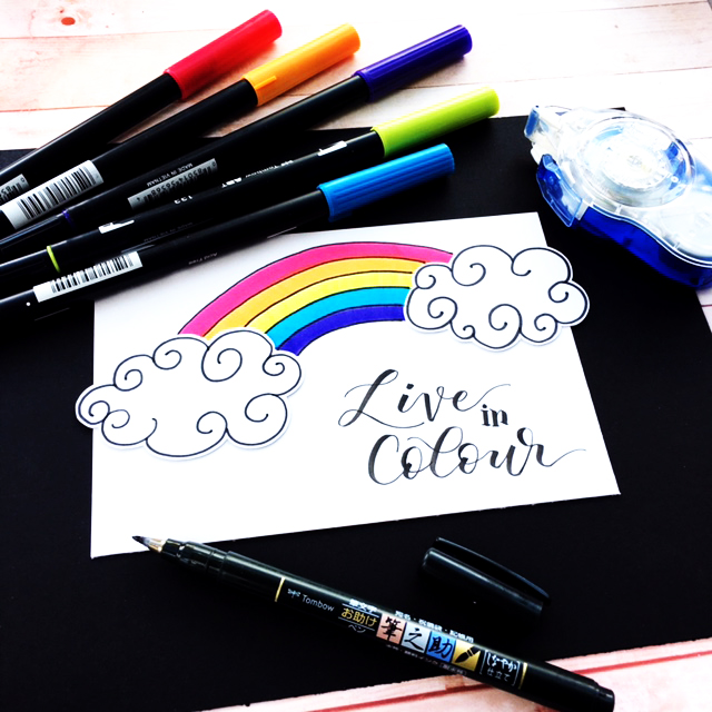 A really cute lettering and illustration tutorial using Tombow pens and the Brother ScanNCut machine! Love the colours in that rainbow and it's so easy to draw!