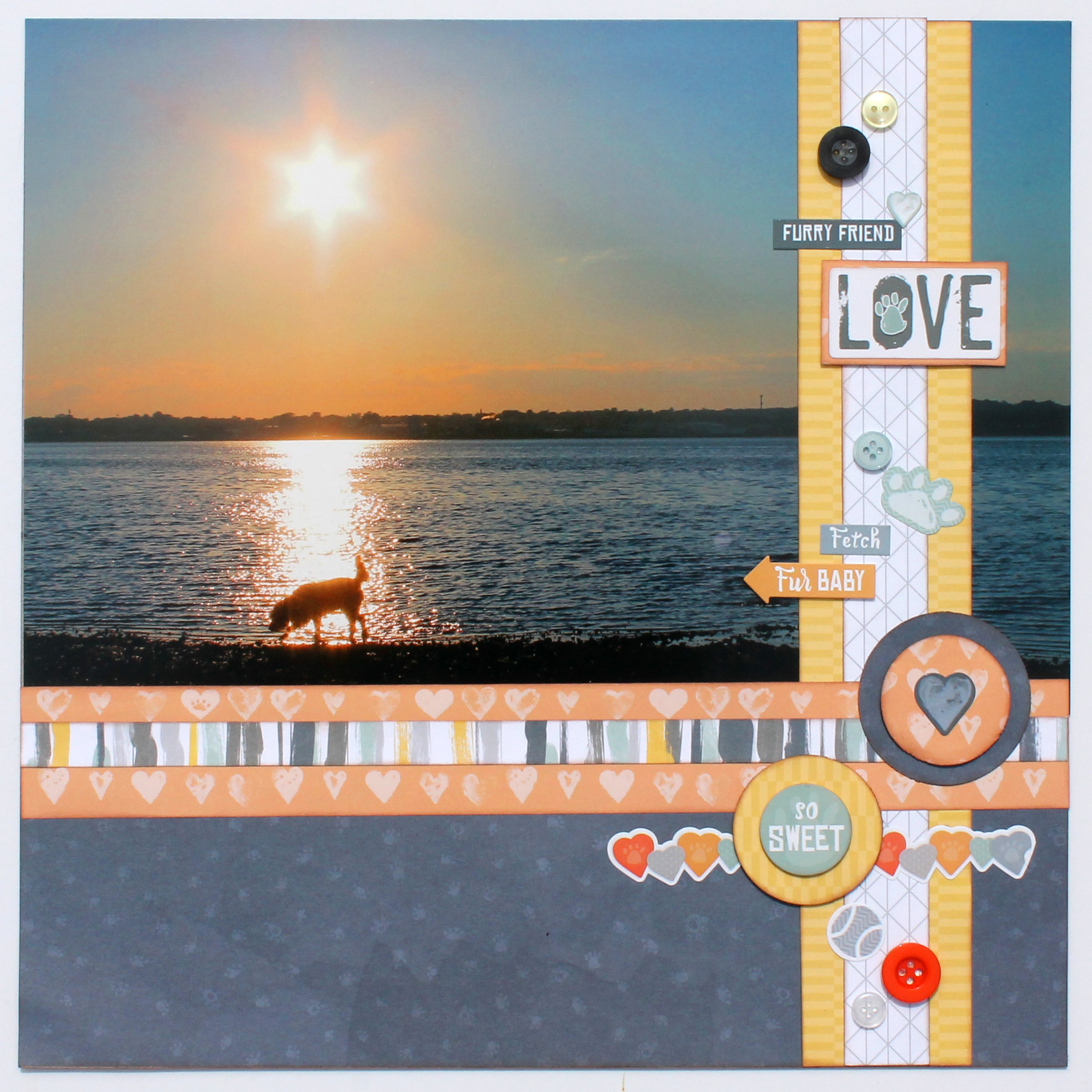 @csmscrapbooker @cmgroup @scrappychick101 Scrapbook layout using Creative Memories Fur Buddies collection. Animal layouts. Dog walking by a lake with the sun setting.