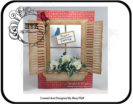 @csmscrapbooker An SVG Cut File of a window with a flower planter and shutters that open. My Treasured Kutz cut files for scrapbooking and paper crafting. Bird and flower cut files.