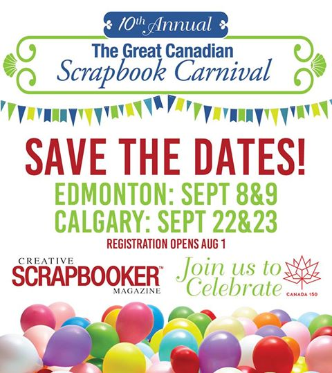 @csmscrapbooker A scrapbooking retreat in Edmonton and Calgary in fall 2017. Save the date for scrapbooking.