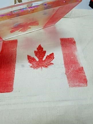 Gel Press monoprinting the canadian flag using ArtFoamies
