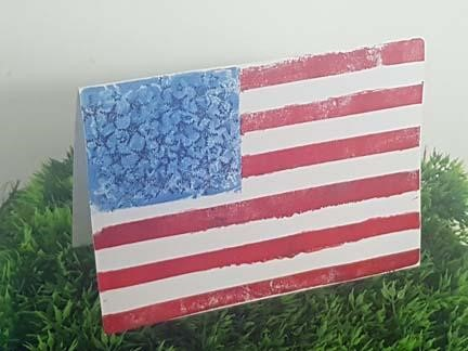 Gel Press monoprinting the American flag using ArtFoamies to create a card