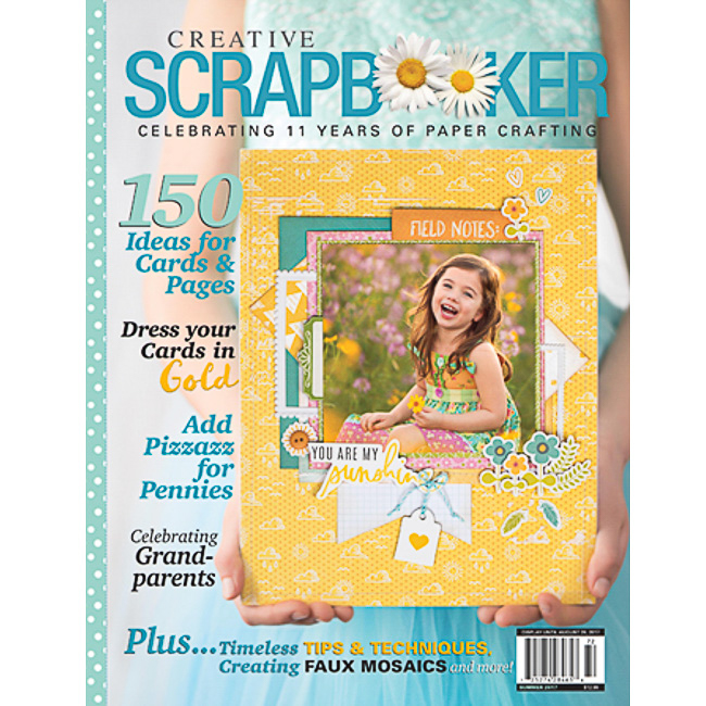 The front cover of the Summer 2017 issue of Creative Scrapbooker Magazine. A little girl holding a scrapbook layout.