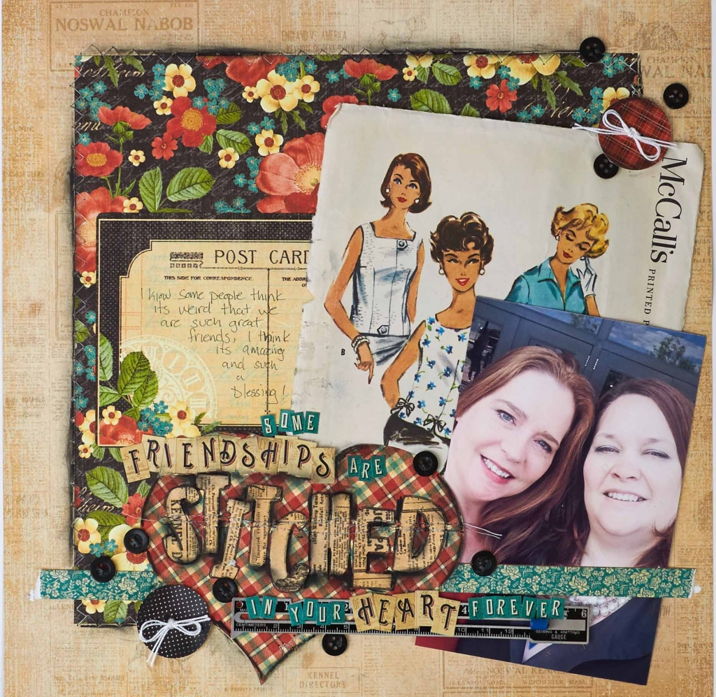 @csmscrapbooker @graphic45 @christyriopel #creativescrapbookermagazine #graphic45 #csmscrapbooker #christyriopel #artscholarship #scrapbooking #scrapbooklayout #sewingpatternsonlayouts #sewingpatternembellishments #friendshiplayout #vintageembellishments #usingacharcoalpencil #postcardsonlayouts #rememberingchristy