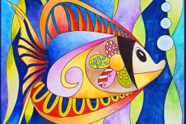 @csmscrapbooker A picture of a fish drawn by Betty Hung. Colored with Stabilo pencils for Creative Scrapbooker Magazine. A beautiful coloring project.