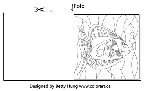 @csmscrapbooker FREE coloring card template designed by Betty Hung of a fish.