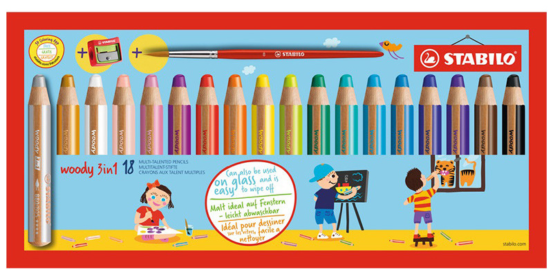 @csmscrapbooker Stabilo Woody 3-in-1 pencil pack of 18 pencils used for coloring or scrapbooking