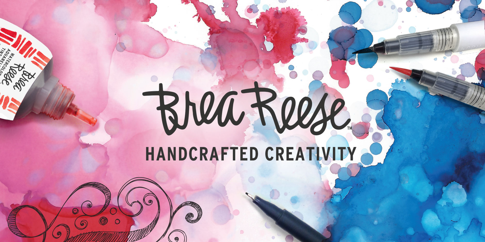 Brea Reese logo. A beautiful image of paint and pens and doodling with the Brea Reese logo on it.