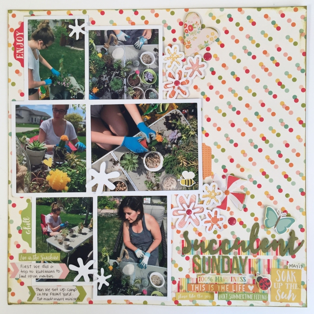 Scrapbook layout designed by Kerry Engel based on a sketch featuring 6 photos of women planting in the spring time - succulents