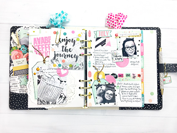 Inside a Simple Stories planner designed by Leah O'Neil