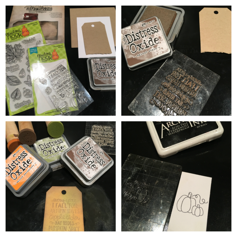 Step by step of creating a fall card starting with a tag stamped with Ranger distress ink and Newton Nook sentiment and pumpkin stamp.