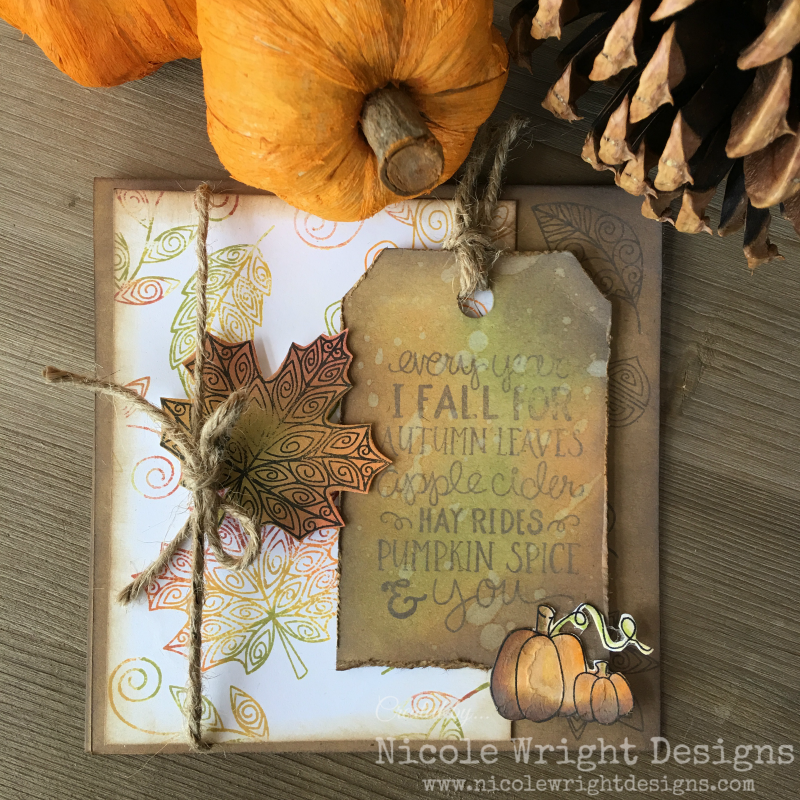 Scrapbook fall card designed by Nicole Wright featuring Ranger distress ink and Stabilo woody 3-in-1 pens.