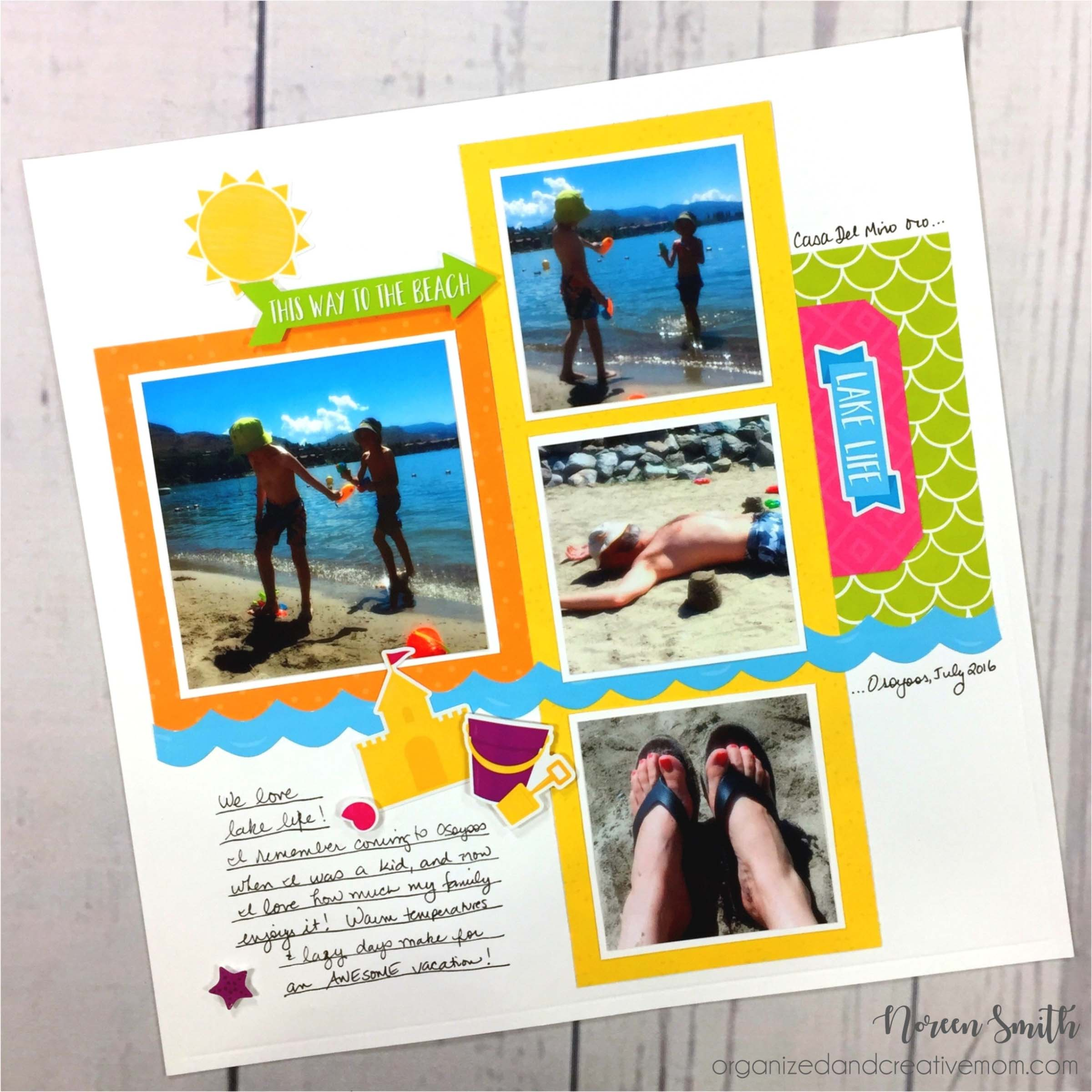 12X12 Summer layout with photo of being on the beach designed by Noreen Smith featuring Creative Memories Slice of Summer collection