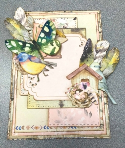 Assembling a card featuring patterned paper from the BoBunny Serendipity collection.