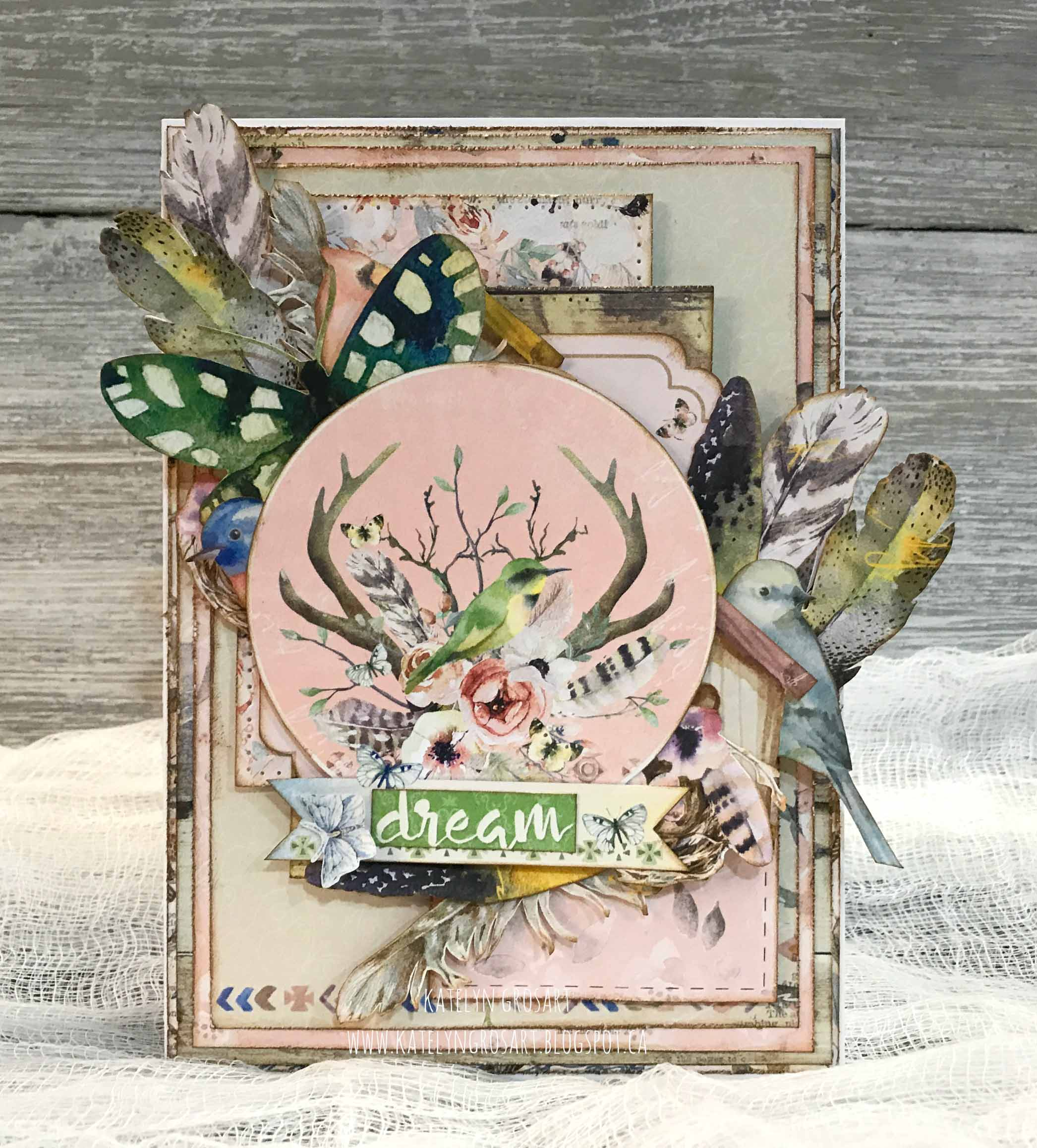 Scrapbook card featuring BoBunny Serendipity collection designed by Katelyn Grosart