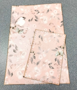 Two pieces of patterned paper from the BoBunny Serendipity collection used to create a card