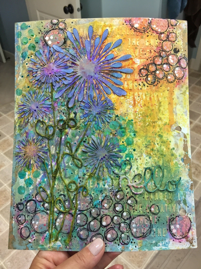 Art journal page based on a sketch designed by Kerry Engel. Flowers and texture with bright colours.