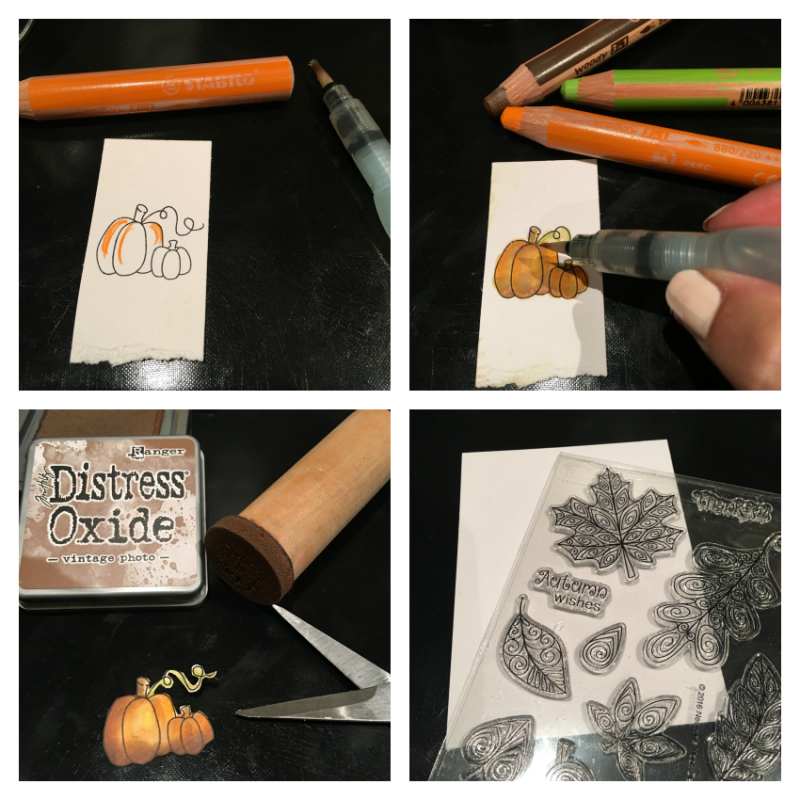 Step by Step of stamping a pumpkin, colouring with Stabilo, inking with ranger dsitress ink to create a fall card